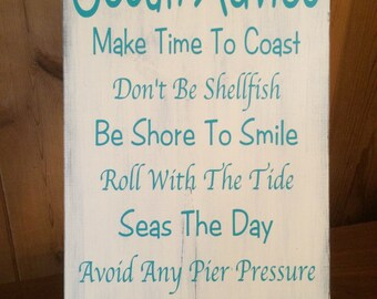 "11""x18"" Ocean Advice Home Decor Wood Sign - Wall Hanging, Beach House, Nautical, Coastal, Anchor, Advice Saying"