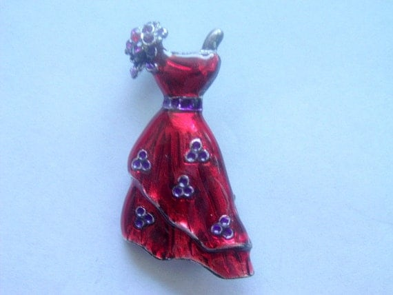 Vintage red society brooch pin red hat society jewelry for Red hat bling jewelry