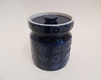 Vintage PORTMEIRION Blue TOTEM Pattern Jar with Lid by Susan Williams Ellis