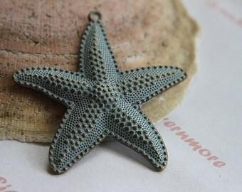 2  pc per pkg of 65x64 mm Patina  Starfish Pendant  Finish Lead Free Pewter