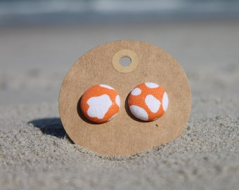 "3/4"" Orange and White Button Earrings"