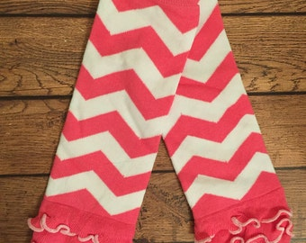 Hot Pink Chevron Ruffle Legwarmers