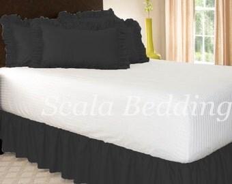 Dust Ruffle Bed Skirt 800 TC 100% Egyptian Cotton Black Select Size