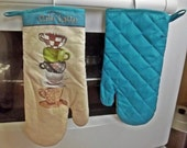 Handmade Coffee Mug Oven Mitt, Quilted Oven Glove, Modern Cotton Potholder Housewarming Gift, Turquoise Brown adn Green, Fun Kitchen, Late