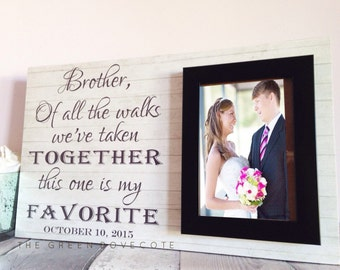 Custom Picture Frame - Shabby Chic Frame - Personalized Frame - Brother Wedding Gift - Brother Of The Bride - Wedding Gift For Brother