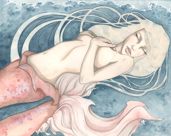Deep as the Sea (framed) original watercolor painting