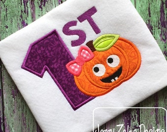 1st Halloween Girl Pumpkin Applique Design