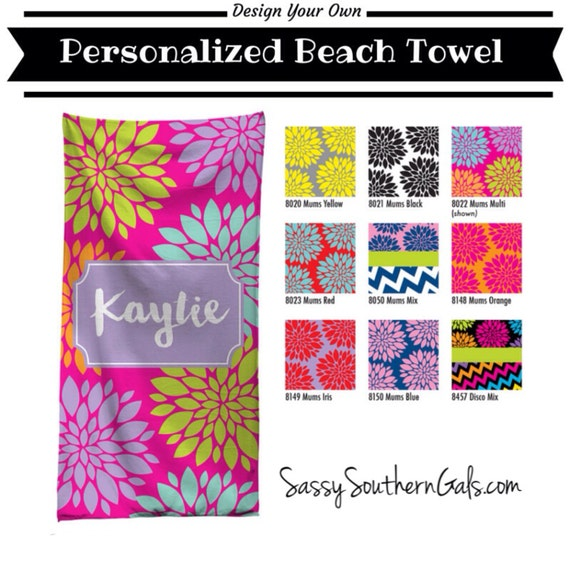 Items Similar To Monogrammed Beach Towel, Personalized