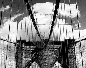 Fine Art Black and White, 'Brooklyn Bridge 2'