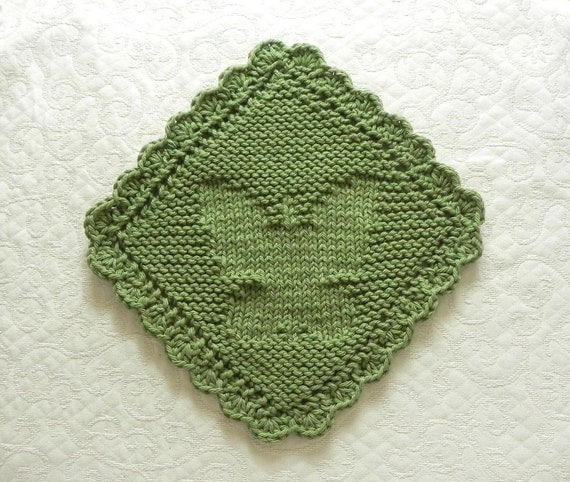 Knitting Pattern Butterfly Dishcloth : BUTTERFLY Knit Dishcloth / Wash Cloth Sage by AuntSusansCloset
