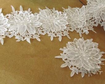 3pcs Ivory 3D Flower Lace Venice Appliques Patches 2 layers Flower