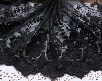 2 Yards Lace Trim Black Gauze Soft Lace Fabric Embroidery DIY Handmade 7.87'' width