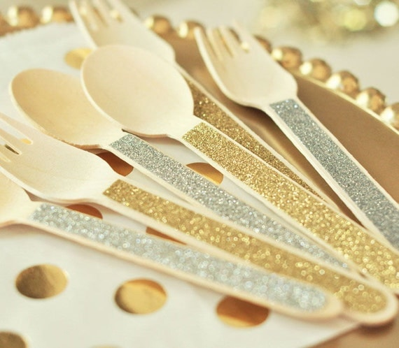 24 Glitter Spoons & Forks Party Bridal Shower Birthday Dessert Bar Wooden Utensil Cutlery Gold / Silver Forks and Spoons Fork Spoon Glitter