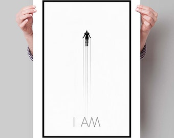 IRON MAN Poster, Avengers Minimalist Posters, Black and White Large Wall Art, College Student Gift Dorm Decor, Gift for Him, Art Print