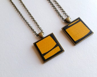 Yellow Painted Wood Geometric Pendant Necklace