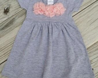 Grey Baby Girl Dress Toddler Dress Toddler Grey Pink Dress Infant Dress Baby Dress Gray Dress