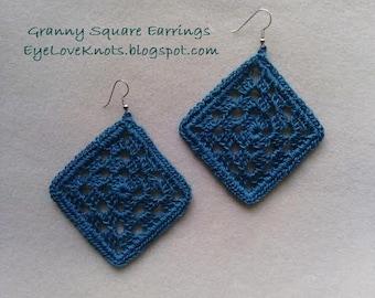 Large Framed Granny Square Earrings in Jade Blue - Blue/Green Granny Square Earrings - Crocheted Earrings - Crocheted Granny Square Earrings