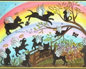 Rainbow Bridge, Angel Cats & Dogs, Forever Free, Berevement, Loss of pet,  Card or Print, Watercolor, Item #0395a
