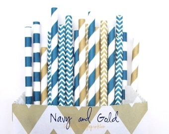 Navy and Gold Straws, Gold Straws, Navy Straws, Blue Gold Straws, Nautical Party, Navy Nautical, Gold Wedding Decorations, Graduation Party