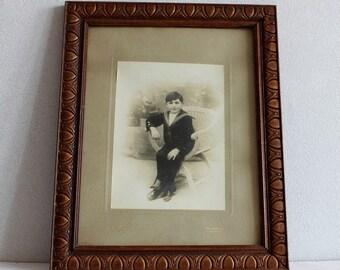 Vintage photo of sailor boy. French vintage. Antique photo. framed photo. Vintage photo. Sepia photo. Vintage photograph. Boy photo // B181
