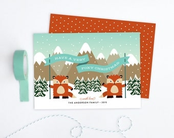 Personalized Christmas Card - Foxy Holiday
