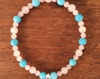 Aquamarine and Rose Quartz beaded bracelet