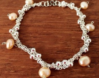 Braided Pearl on White Chain Link Bracelet