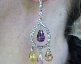 Amethyst, Citrine & Topaz Briolette Earrings - 925 Sterling Silver