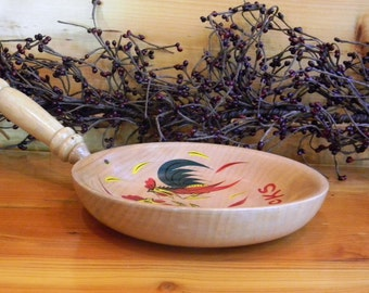 Vintage Wooden Snack Bowl, Rooster Themed Snack Bowl, Vintage Kitchen, Wood Bowl