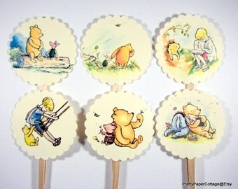 Winnie the Pooh, Cupcake Toppers, Baby Shower, Birthday Party, First Birthday, Set of 12