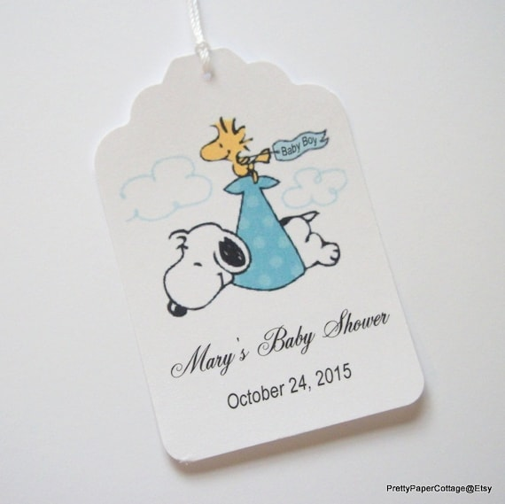 snoopy personalized baby shower tags baby boy blue baby girl