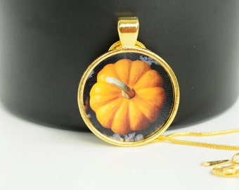 Necklace Mini Pumpkin Gold Photo Pendant Jewelry