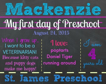 First Day of Preschool Chalkboard - Digital - Preschool Sign - Custom - Any Grade - First Day of School Chalkboard - Kindergarten - Girls