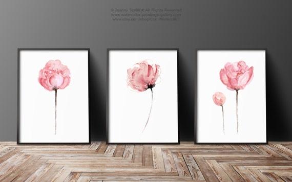 Peony set of 3 abstract flower peonies art print minimalist for Minimalist wall painting