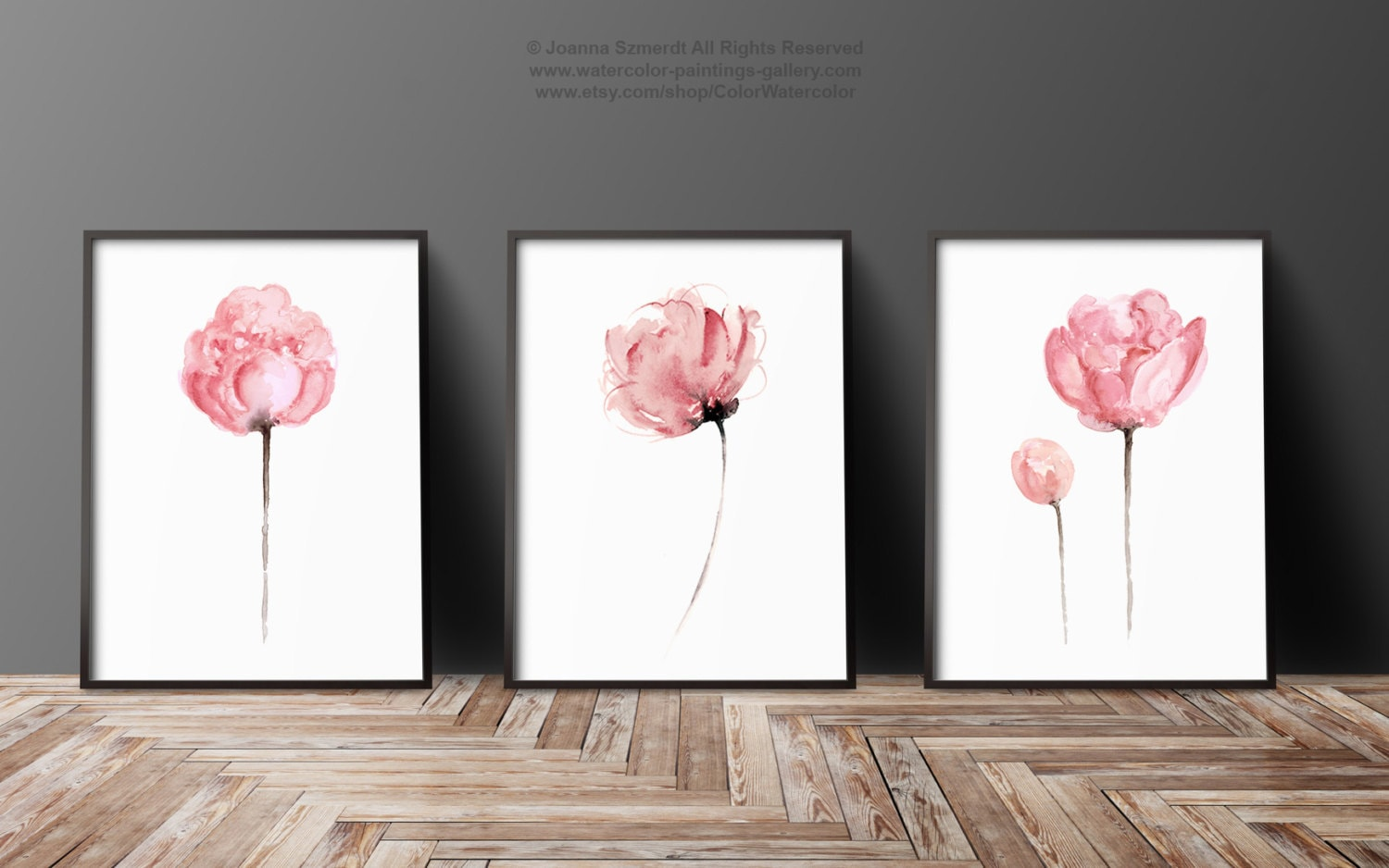 Peony set of 3 abstract flower peonies art print minimalist for 3 by 3 prints