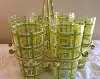 Vintage Mod Retro 70s Lime, Lemon and White Tumblers in Round Metal Caddy