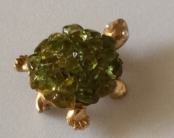 "Vintage Turtle Pin with ""Jello"" Plastic Stones on Back"