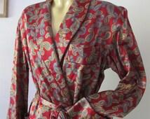 Men DRESSING GOWN Paisley House Robe Unisex Kimono Smoking Jacket Sz M Loungewear Vintage Retro Hipster