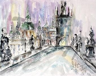 SALE! Charles bridge. Prague. Czech. Print  from original painting.