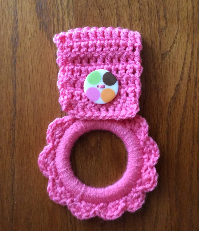 Dishcloth Hanger: Kitchen Towel Hanger Crochet Towel Hanger Button Towel