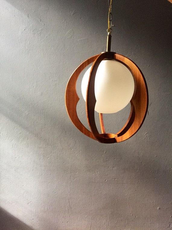 Mid century hanging lamp danish modern pendant by vintadelphia for Mid century modern hanging lamp
