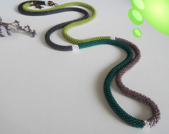 Crochet Lariat Necklace Long Beaded Crochet Rope necklace