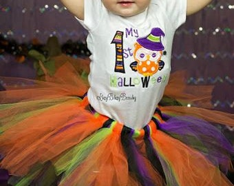 Baby girl my first halloween owl outfit embroidered bodysuit headband