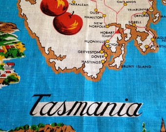 Instant Collection! Vintage Tasmania Souvenir Linens – 2 Kitchen Towels, 1 Tablecloth – Tourist, Map, Island, Memento, Memories, Apples