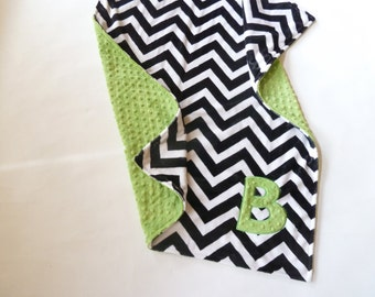 Personalized Double Sided Minky Baby Boy or Girl Blanket or Lovey - Custom Made - Black and White Chevron front you Choose back Minky Color