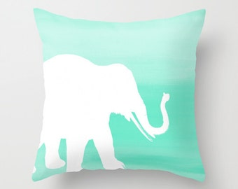 Mint Ombre Elephant Throw Pillow Cover Home Decor Living Room Pillow Bedroom Pillow Couch Cushion Cover