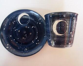 Soap dish washroom set Toothbrush holder bathroom set dark blue starry night  design midnight blue
