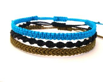 Waxed Bracelet, Macrame Bracelet, Surf Bracelet, Friendship Bracelet