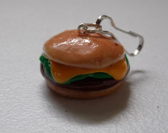 Large Cheeseburger Polymer Clay Charm