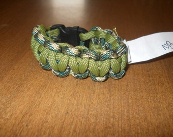 Drab Olive Green and Camouflage 6 Inch Paracord Bracelet Item #140